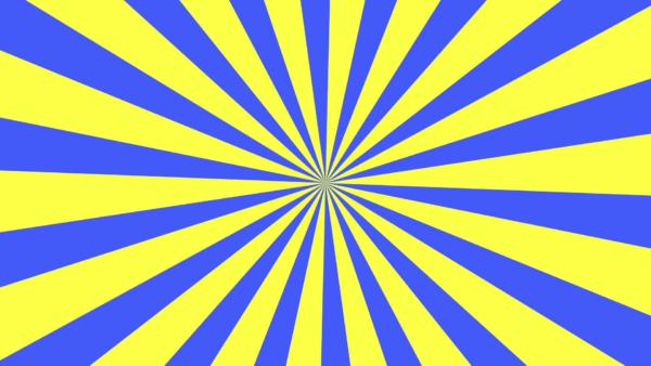 クルクル回る青と黄の放射線