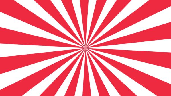 クルクル回る赤と白の放射線