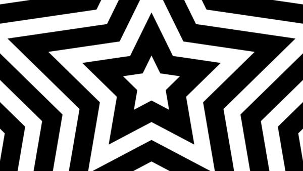 中心から外側に広がっていく白黒の星