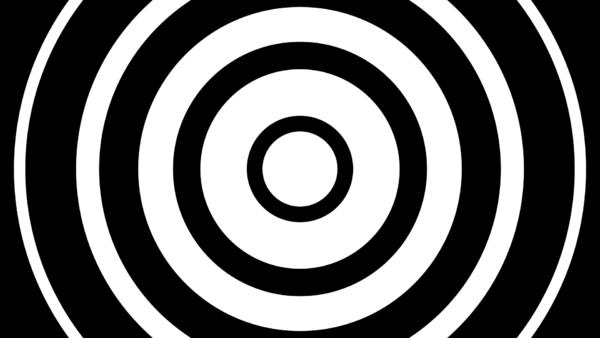波紋のように広がる円(モノトーン)